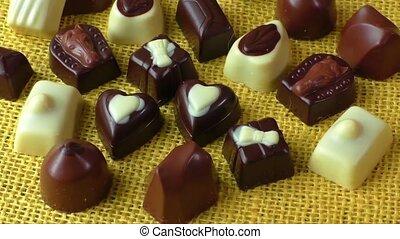 White and milk chocolate - Assortment of dark, white and...
