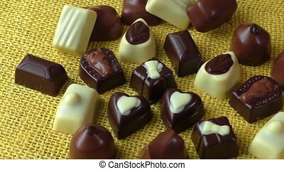White and milk chocolate - Assortment of dark, white and...