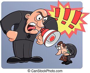 Boss yelling at his worker - Illustration of the angry boss...