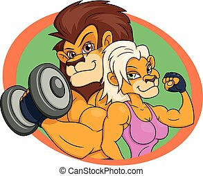 Lion and lioness posing - Illustration of the strong smiling...