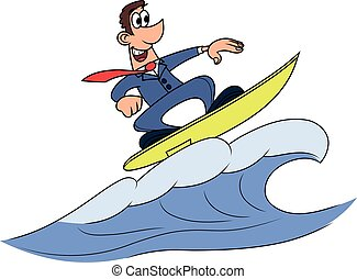 Wave of success 2 - Illustration of the businessman surfing...