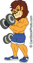 Lion with dumbbells 2