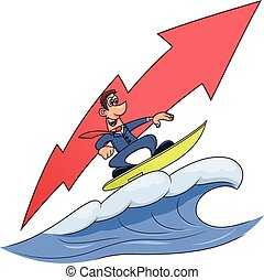 Wave of success 3 - Illustration of the businessman surfing...