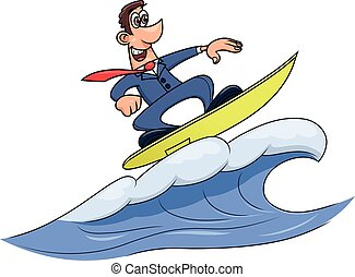 Wave of success - Illustration of the businessman surfing on...
