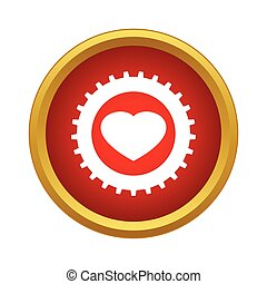 Heart in a gear icon, simple style