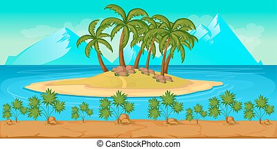 Tropical Beach Landscape For UI Game Illustration of a cartoon summer ocean background