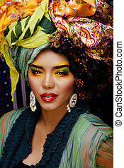 beauty bright woman with creative make up - beauty bright...