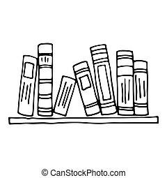 Bücherregal gezeichnet  Vektor Clipart von regal, vektor, buecher - Books, auf, der ...