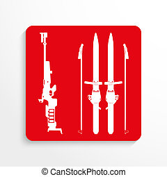 Sports symbol. Biathlon. - Red and white image on a light...