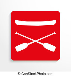 Sports symbols. Kayaking. - Red and white image on a light...