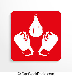 Sports symbols. Boxing. - Red and white image on a light...