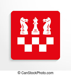 Sports symbols. Chess. - Red and white image on a light...