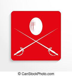 Sports symbols. Fencing. - Red and white image on a light...