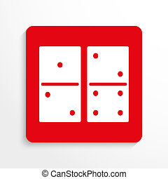 Sport signs. Dominoes. Red and white image on a light...