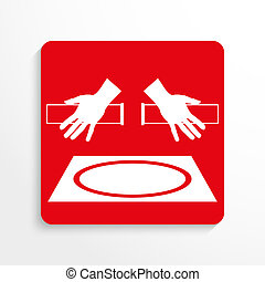 Sport signs. Freestyle wrestling. Red and white image on a...
