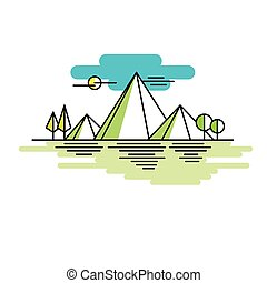 Line illustration mountains in color Vector linear