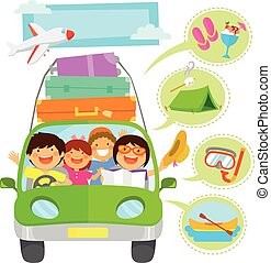 family vacation cartoons set - family traveling in a car...