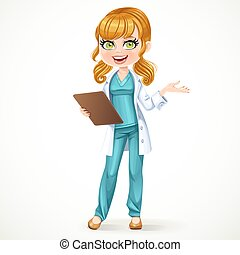Cute girl doctor in a white coat holds planchette with a...
