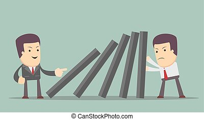 domino effect and problem solving - Business man supports...