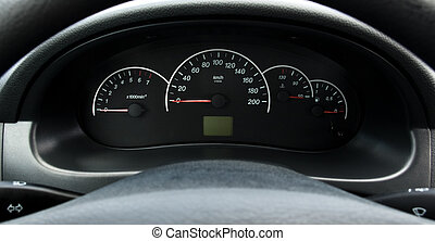 Iinstrument panel of the car - Closeup instrument panel of...