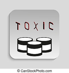 Toxic waste. - Black and white icon on a specific...