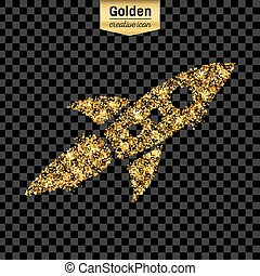 Gold glitter vector icon of rocket isolated on background. Art creative concept illustration for web, glow light confetti, bright sequins, sparkle tinsel, abstract bling, shimmer dust, foil.