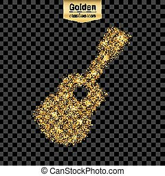 Gold glitter vector icon of guitar isolated on background....