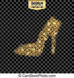 Gold glitter vector icon of right shoe isolated on...