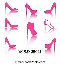 Set of woman shoes silhouettes with reflections.