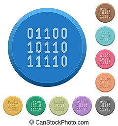 Embossed binary code buttons - Set of round color embossed...