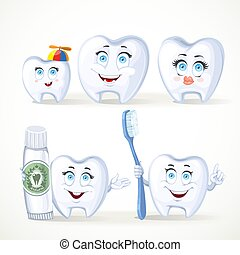 Funny teeth, dental family, father, mother, child, teeth with toothpaste and a tooth with a toothbrush isolated on white background