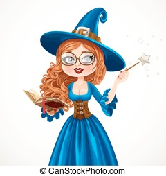 Beautiful witch wearing in blue dress holding a magic wand and book isolated on white background