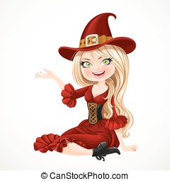 Beautiful blonde witch in maroon dress sitting on the floor...