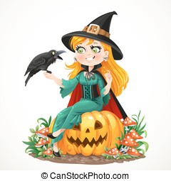 Beautiful witch sitting on a pumpkin and talks to the black...