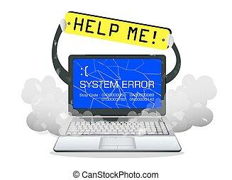 broken laptop error screen  with help me banner