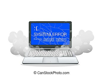 broken laptop error screen