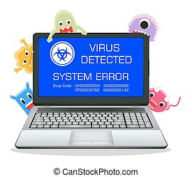 laptop error screen with virus