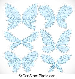 Blue fairy wings with dotted outline for cutting set...