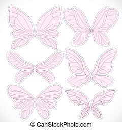Pink fairy wings with dotted outline for cutting set...