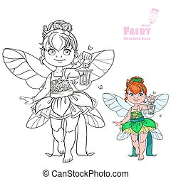 Beautiful little fairy with a flashlight color and outlined picture for coloring book on white background