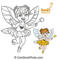 Cute little autumn fairy girl with a Magic wand color and outlined picture for coloring book on a white background