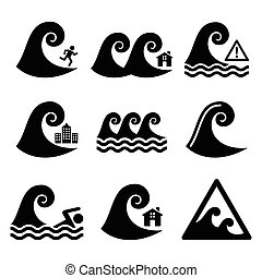 Tsunami, big wave warning icons - Vector icons set - waves,...