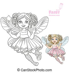 Cute little fairy girl with a Magic wand color and outlined...