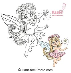 Little spring fairy girl with magic wand color and outlined...