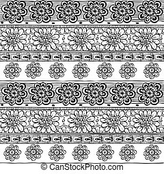 Seamless line ornament from flower doodles in zen ethnic style black and white