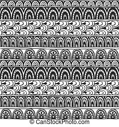 Seamless ornament from  circles geometric elements in ethnic style black and white