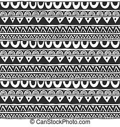 Seamless ornament from circle geometric elements in ethnic style black and white. Seamless vector pattern