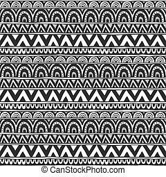 Seamless ornament from circles and triangles geometric elements in ethnic style black and white. Seamless vector pattern