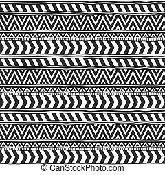 Seamless ornament from different variants triangles geometric elements in ethnic style black and white