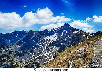 mountain peaks and blue sky